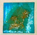 "Seed - 3"" x 3"" acrylic, fabric, glue"