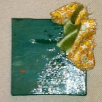 "Toss - 3"" x 3"" acrylic, fabric, glue"