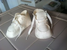 Felt shoes made from old kit.